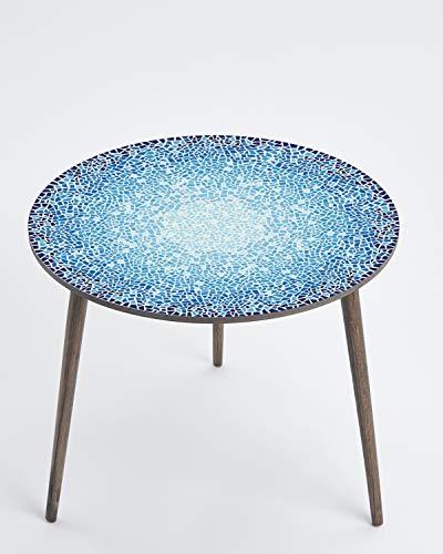 Queence designtafel, ronde bijzettafel, salontafel, retro design, koffietafel, nachtkastje, woonkamertafel, telefoontafel, maat: 50 Ø cm Mozaïek 2
