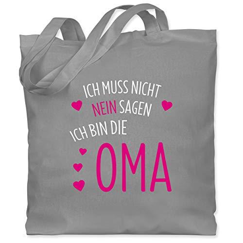 Shirtracer Oma - Ich muss nicht nein sagen ich bin die Oma - Unisize - Hellgrau - oma beutel nein - WM101 - Stoffbeutel aus Baumwolle Jutebeutel lange Henkel