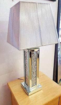 Premierinteriors Lámpara de mesa de cristal de espejo triturado con pantalla plateada