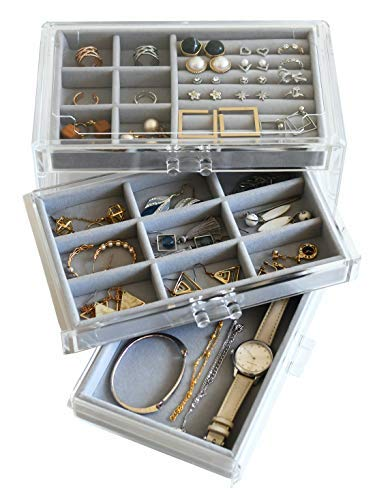 HerFav Acrylic Jewelry Box for Women with 3 Drawers for Rings Earrings and Necklace, Compact Jewelry Case, Transparent Gray