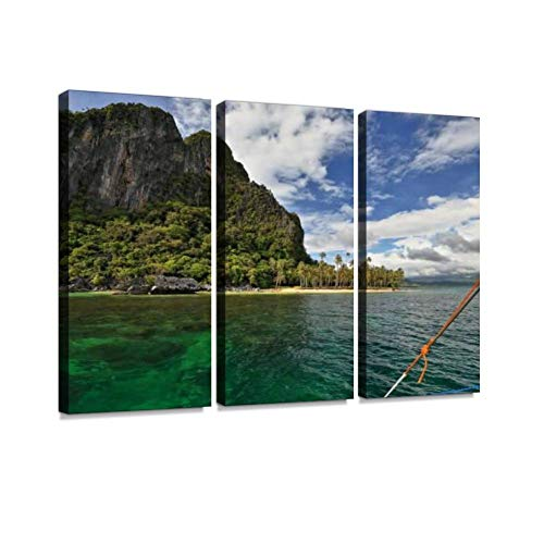 Green Water-White Outrigger of Filipino bangka-Malapacao Island SE Tape-El Nido- Print On Canvas Wall Artwork Modern Photography Home Decor Unique Pattern Stretched and Framed 3 Piece