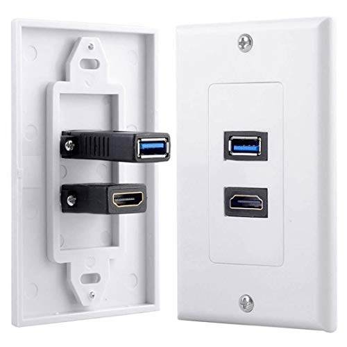 Wivarra 1x 2Port HDMI+USB 3.0 Female Wall Face Plate Panel Outlet Socket Extender White
