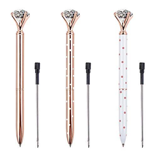 ZZTX 3 PCS Big Crystal Diamond Ballpoint Pen Bling Metal Ballpoint Pen Office Supplies, Rose Gold/White With Rose Polka Dots/Rose Gold With White Polka Dots, Includes 3 Pen Refills and 3 Velvet Bags Photo #3