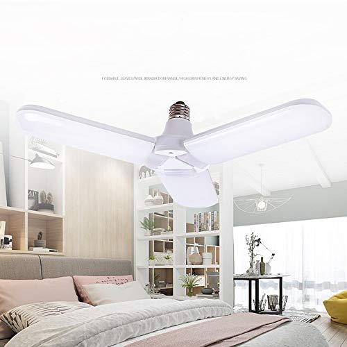 Garagelamp, vouwlamp, 60 W, instelbare trilights LED-garageverlichting, plafond, driebladige verlichting, AC 110 V-265 V, E27, huishoudlamp voor garage, werkplaats, werkbank, barn, winkelhuis, verpakking van 5 stuks