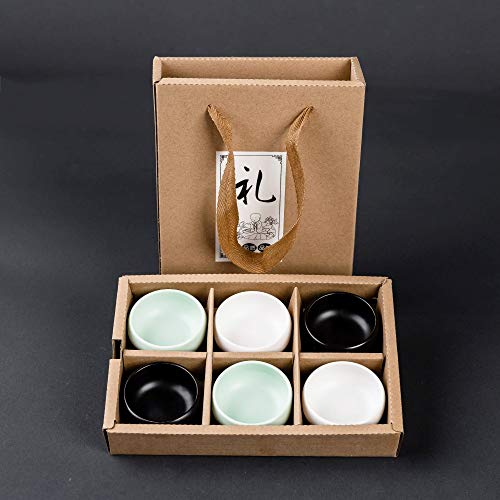 Yan Hou Tang 3 Colors Japanese Kungfu Ceremony Set of 6 Sake Tea Cups Ceramic Classic Drinkware Tiny Slim Small 45ml 1.6Oz with Black White Green Cyan Mix Style Traditional Handcrafted Gift