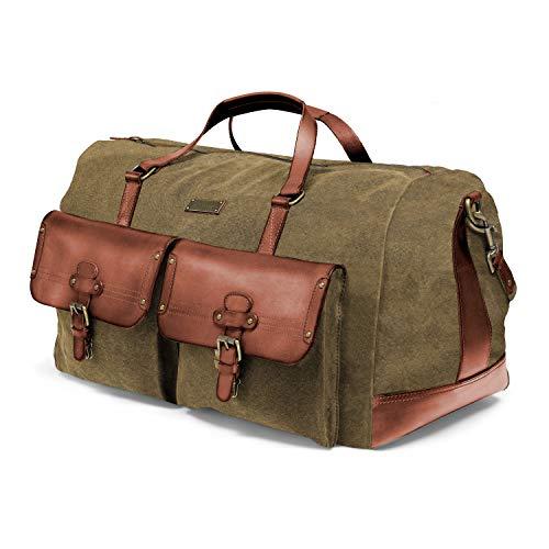 DRAKENSBERG Long Weekender - große Reisetasche im Vintage-Safari-Design, Damen und Herren, handgemacht in Premium-Qualität, 60L, Canvas und Leder, Olivgrün, DR00124