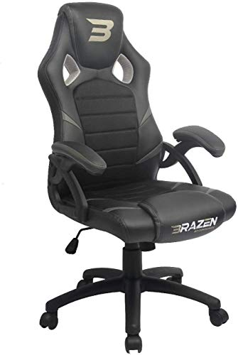 BraZen 18069 Puma Grey PC Gaming Chair & Office Max Weight of 120 kg-Made from Faux Leather & High Quality Steel Frame-360 Degree Swivel Capability-Office Chairs with Arms, 120