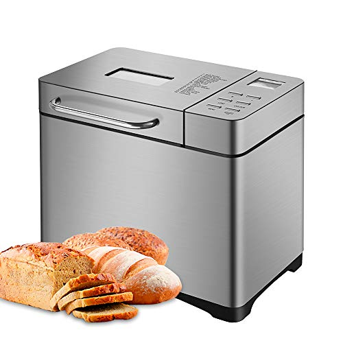 Panificadora Completamente Automática, Máquina de Pan de Acero Inoxidable, la Configuración Menú 17 en 1, Pantalla LCD, Ajustes de peso 500g/750g/1000g