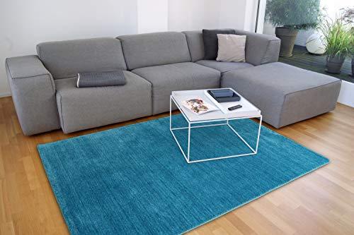 floor factory Gabbeh Teppich Karma türkis blau 160x230 cm - handgefertigt aus 100% Schurwolle