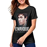 Womens Enrique Iglesias Stylish Music Band Short Sleeves T Shirt XL Black
