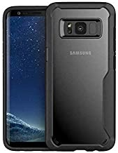 Plus Bumper Case with Clear Back Hard Panel Protective Case Cover for Samsung Galaxy S8 (Black)