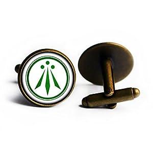 Celtic Symbol – The Awen – Three Rays of Light – Green on White Antike Bronze Manschettenknöpfe