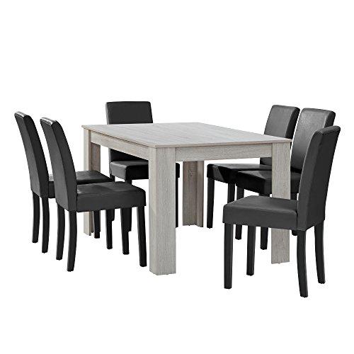 [en.casa] Esstisch Eiche weiß mit 6 Stühlen dunkelgrau Kunstleder gepolstert 140x90 Essgruppe Esszimmer