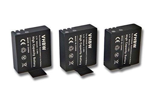 vhbw 3X baterías para cámaras de acción Compatible con Rollei 220, 310, 330, 372, 415, 416, 425, 426, 510, 525, 540, 610, 625 (900mAh, 3,7V, Li-Ion)