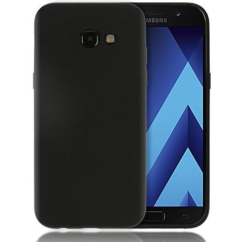 NALIA Custodia compatibile con Samsung Galaxy A5 2017, Cover Protezione Ultra-Slim Case Protettiva Morbido Cellulare Silicone Gel, Gomma Jelly Telefono Smartphone Bumper Sottile, Colore:Nero