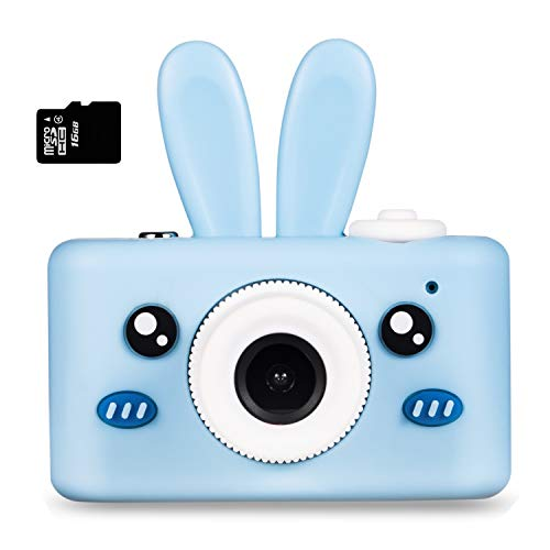 Deeteck Kids Digital Camera,Outdoor Toys for 4-8 Year Old Boys Girls,Shockproof Toddlers Cameras,Rechargeable Mini Video Camcorders,Gifts for Child with Cute Rabbit Cover & 16GB Memory Card (Blue)