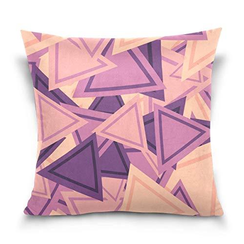 Funda de cojín cuadrada de 45,7 x 45,7 cm, diseño de triángulo, color morado, con cremallera para decoración de hogar, cama, sofá