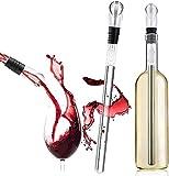 Enfriador de vino, enfriador de vino con enfriador de vino de acero inoxidable y varilla de enfriamiento, enfriador de botellas de vino con dosificador aireador (paquete de 2)