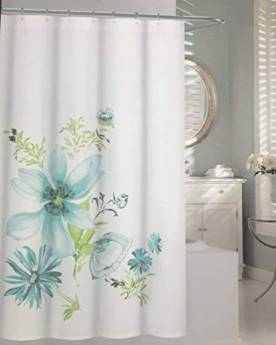 "Tahari Home Shower Curtain- Floral Bloom Blue, Aqua, Green on White 72"" x 72"""