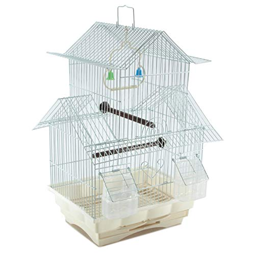 White 18-inch Medium Finch Wire Bird Cage for Extra Small Finches Canaries Lovebirds Small Quaker Parrots Cockatiels Green Cheek Conure Perfect Bird Travel Cage and Hanging Bird House