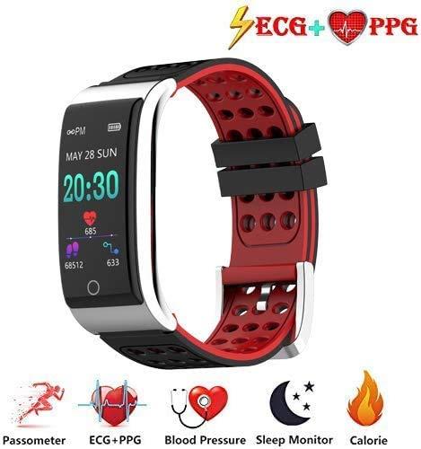 Zeerkeer ECG y Reloj de Pulsera Monitor de frecuencia cardíaca PPG Fitness Watch para Actividad Física Fitness Tracker Contador de Pasos para Mujeres (Rojo-Negro)