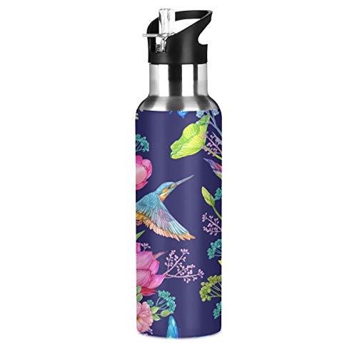 JNlover Bird Kingfisher Lotus Flowers Botella de agua de acero inoxidable aislada al vacío, botella deportiva con pajita para camping, correr, gimnasio, yoga, 600 ml