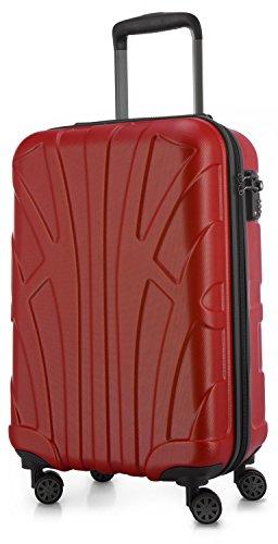 Suitline Handgepäck Hartschalen-Koffer Koffer Trolley Rollkoffer Reisekoffer, TSA, 55 cm, ca. 34 Liter, 100% ABS Matt, Rot