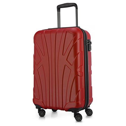 SUITLINE - Valigia per cabina, bagaglio a mano rigido, 4 doppie ruote, TSA, 100% ABS opaco, 55 cm, 34 litri, Rosso