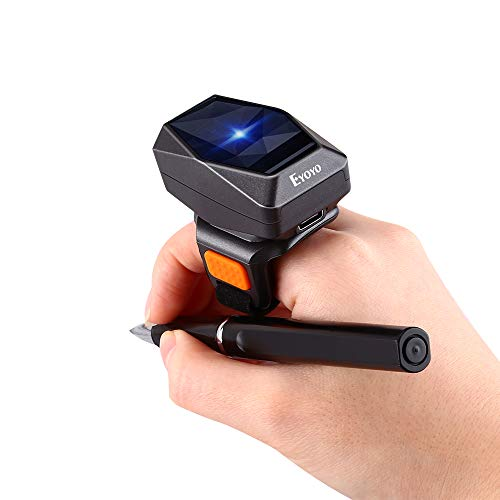 Eyoyo 2D Finger Ring Barcode Scanner, Mini Wearable 3-in-1 USB Wired & 2.4G Wireless & Bluetooth Scanner, Image 1D QR Bar Code Reader PDF417 Data Matrix Screen Scan for iPad, Smartphone, PC