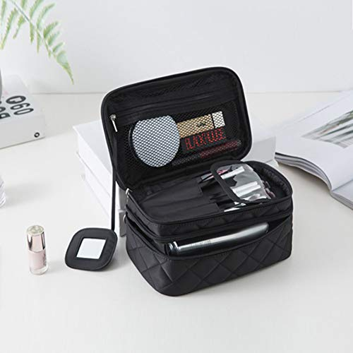 Bidiri Nylon Double Layer Waterproof Cosmetic Bag - Multifunctional Portable Makeup Organizer Case with Mirror, Brush Pouch Holder, Carry Handle for Travel Perfect for Women Girls (Black)