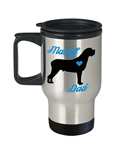 Mastiff Dad Travel Mug - Insulated Portable Coffee Cup With Handle And Lid For Dog Lovers - Perfect Christmas Gift Idea For Men - Novelty Animal Lover Quote Statement Accessories