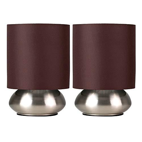 Set di 2 – Lampada rotonda da tavolo con funzione touch, finitura cromata spazzolata e paralume marrone di tessuto