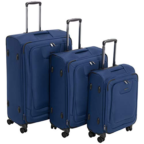 AmazonBasics 3 Piece Expandable Softside Spinner Luggage Suitcase With TSA Lock And Wheels Set - Blue
