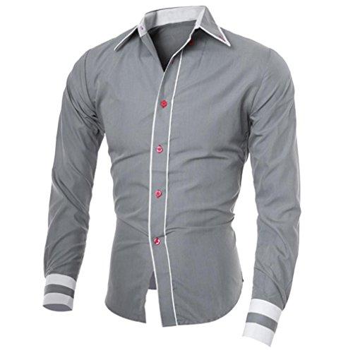 Herren Hemd,Sannysis Männer Casual Langarmshirt Top Bluse (L, Grau)
