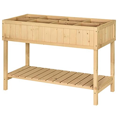 Outsunny Wooden Herb Planter Raised Bed Container Garden Plant Stand Bed 8 Boxes 120 L x 60W x 81Hcm