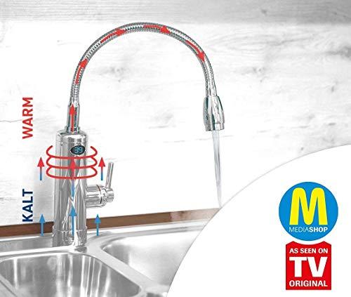 Mediashop Aquadon Smart Heater | Armatur mit integriertem Durchlauferhitzer | 2 Aufsätze | Digitale LED-Temperaturanzeige | Wasserhahn | Boiler | Das Original aus dem TV