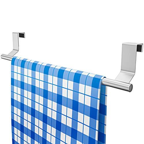EDELHAND © Küchenschrank Geschirrtuchhalter zum Einhängen - 35 cm langer Edelstahl Handtuchhalter Küche inkl. 2 GRATIS Haken - Geschirrtuch Halter ohne Bohren als Türhandtuchhalter mit Stange