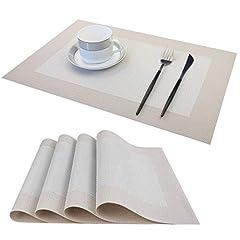 Idea Regalo - LUOLUO Tovagliette Americana Tessuto di Lino Imitazione Lavabile, Tovagliette Set per Colazione Facile Pulizia Resistenti al Calore per Cucina, Ristorante, Hotels Set di 4 (45CM x 30CM)