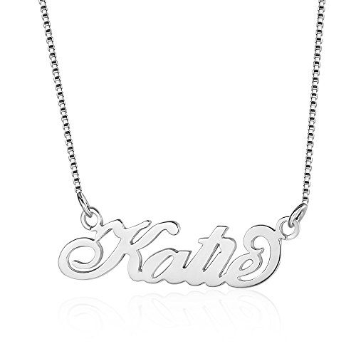 Bo&Pao Name Necklace Carrie Style in 925 Sterling Silver with 1 Name, Personalized 18k Rose Gold and 18 K Gold Plated Silver Necklace with 1 Name