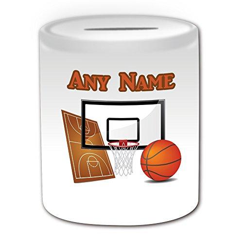 Personalisiertes Geschenk,Basketball-Spardose (Sport-Design, Weiß) mit NBA-Rückwand für den Slam Dunk