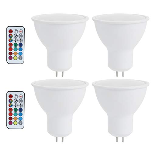 OUKENS Lampadina cambiacolore, Lampadina LED 3W RGB Che Cambia Colore con Telecomando per Il corridoio della Camera da Letto, Bar dell'hotel 85‑265V(GU5.3,RGB+Warm White)