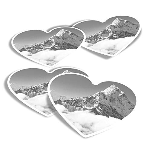Vinyl Heart Stickers (Set of 4) - BW - Snowy Mount Everest Mountaineering Fun Decals for Laptops,Tablets,Luggage,Scrap Booking,Fridges #36606