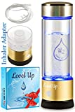Level Up Way - Hydrogen Water Bottle Generator - New Technology Glass Water Ionizer - SPE Ionic Membrane - High Borosilicate Glass 13 Ounce (Gold)