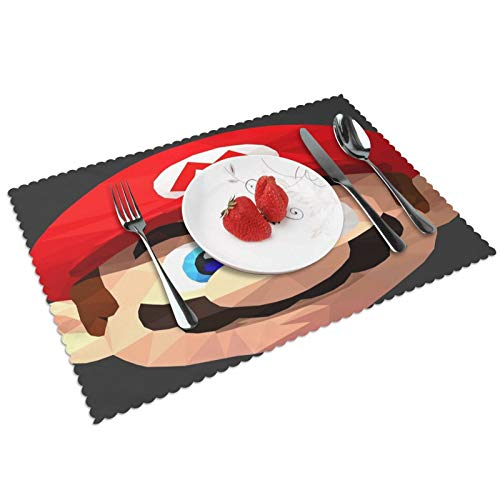 Lhgs5sv Mario Bros Low Poly (Black Background) Placemats Set of 4 Washable Heat Resistant Non-Slip Mats for Dining Table Decor 12x18 Inch