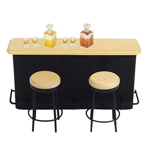 MagiDeal 1/12 Casa de Muñecas en Miniatura Barra de Bar Silla Taburete Botella de Vino Juego de Tazas