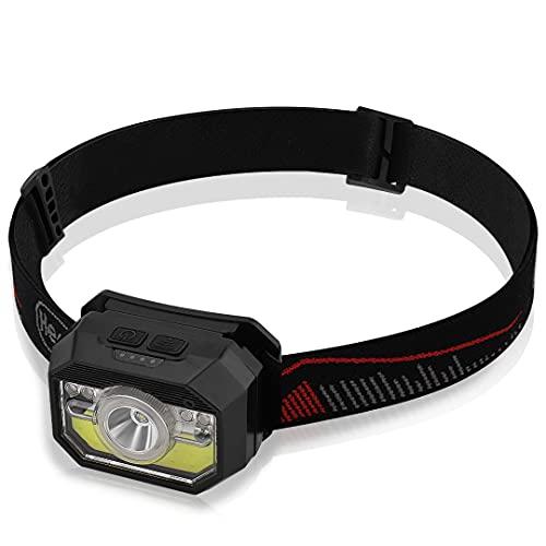 CNXUS Linterna Frontal LED USB Recargable 9 Modos de Iluminación Sensor Inteligente Impermeable Mini Frontal LED para Correr, Excursión, Ciclismo, Acampar, Pesca