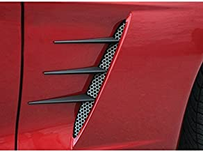 Corvette Side Vent Perforated Grilles with Spears - Black Stealth : 2005-2013 C6