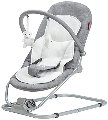 Moby System Babywippe, Kleinkind Rocker Baby Leichter gemütlicher Türsteher Stuhl, Relax & Play Schaukelwiege, Babyliege, Kinderbett, faltbar, Liegeposition, Grau