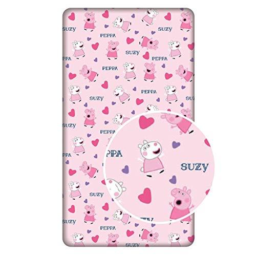 L-S Kids Boutique Georges, Peppa Pig – Sábana bajera de 90 x 200 cm para cama individual, 100% algodón