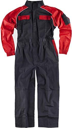 WorkTeam Buzo Recto con Cuello de Tira, Mangas y Detalles bicolores, Mono de Trabajo. Hombre Negro+Rojo 50